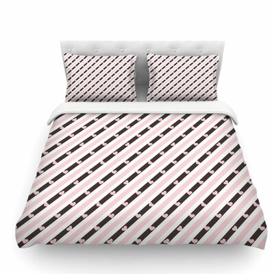 Pastel Stripe Heart by Vasare Nar Love Featherweight Duvet Cover Size: Twin