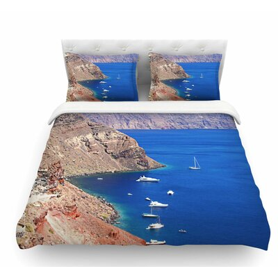 Santorini Coastline by Sylvia Coomes Featherweight Duvet Cover Size: King