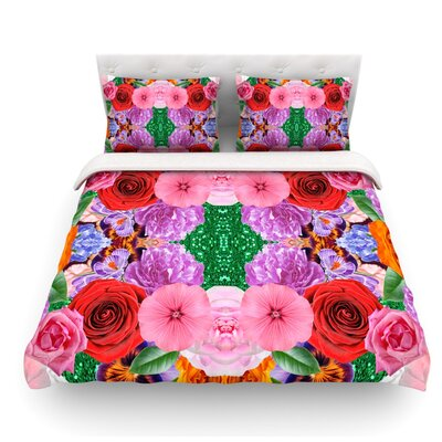 Kaleidoscopic Flowers by Vasare Nar Featherweight Duvet Cover Size: King