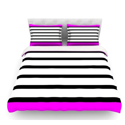 Sest Redaka by Trebam Featherweight Duvet Cover Color: Magenta/White, Size: Queen