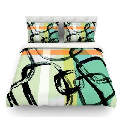 Sixties Stripe by Theresa Giolzetti Featherweight Duvet Cover Size: Queen