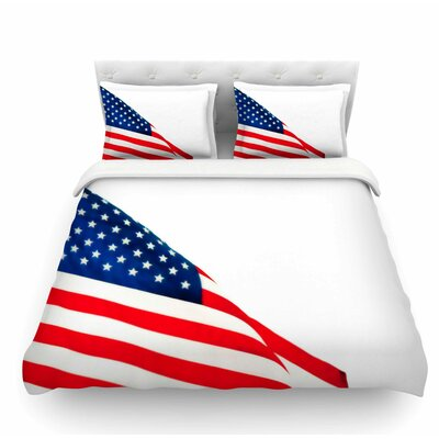 American Flag by Sylvia Coomes Holiday Featherweight Duvet Cover Size: King