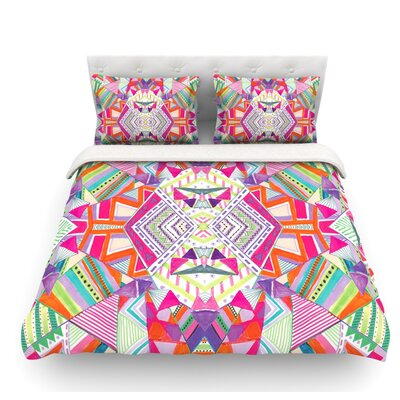 Carrousel by Vasare Nar Geometric Rainbow Featherweight Duvet Cover Size: King