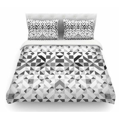 Monochrome Geometric by Vasare Nar Geometric Featherweight Duvet Cover Size: Queen