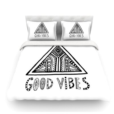 Good Vibes by Vasare Nar Featherweight Duvet Cover Size: Queen