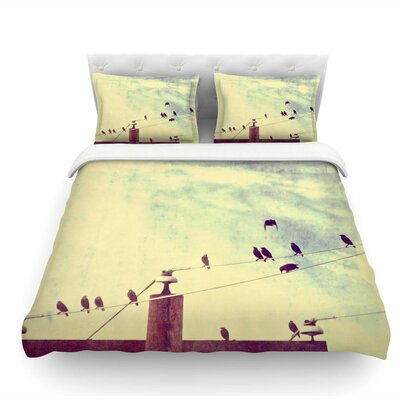 Vintage Birds on a Wire 1 by Sylvia Coomes Vintage Featherweight Duvet Cover Size: Twin