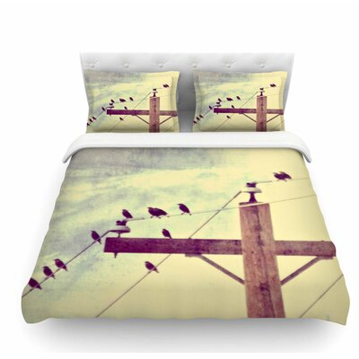 Vintage Birds on a Wire 2 by Sylvia Coomes Digital Featherweight Duvet Cover Size: Queen