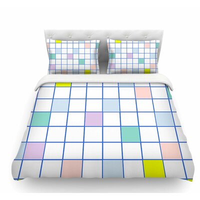 Pastel Windowpane Grid by Vasare Nar Featherweight Duvet Cover Size: King
