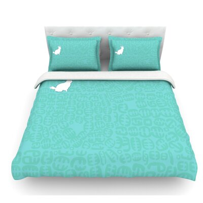 Oliver by Theresa Giolzetti Featherweight Duvet Cover Color: Teal, Size: Queen