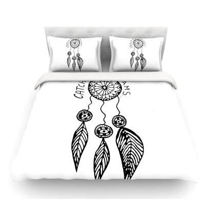 Catch Your Dreams by Vasare Nar Illustration Featherweight Duvet Cover Color: White/Black, Size: Queen