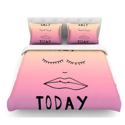 Lazy Today by Vasare Nar Featherweight Duvet Cover Size: King, Color: Yellow/Pink
