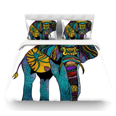 Elephant of Namibia Featherweight Duvet Cover Size: King, Color: White/Blue/Yellow