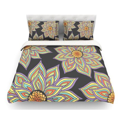 Floral Rhythm by Pom Graphic Design Featherweight Duvet Cover Color: Black/Purple/Yellow, Size: King