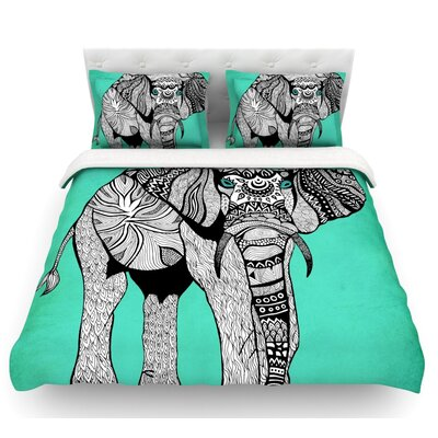 Elephant of Namibia Featherweight Duvet Cover Size: Twin, Color: Aqua/White