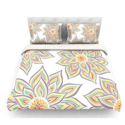 Floral Rhythm by Pom Graphic Design Featherweight Duvet Cover Size: Twin, Color: White/Purple/Yellow