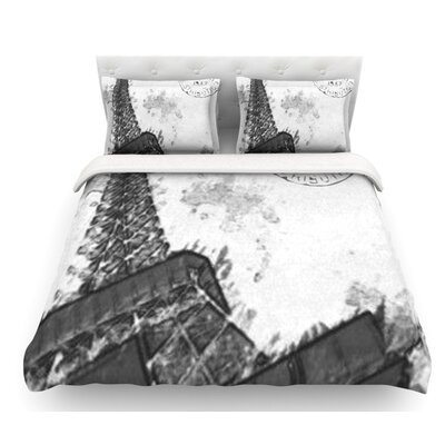 Bonjour Mon Amour by Oriana Cordero Eiffel Featherweight Duvet Cover Size: Queen