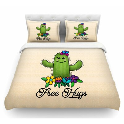 Free Hugs Cactus by Noonday Design Pastel Featherweight Duvet Cover Size: King