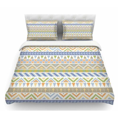 Happy Tribal Pattern by Noonday Design Pastel Abstract Featherweight Duvet Cover Size: Queen