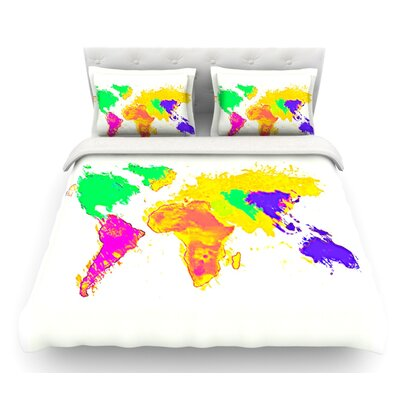 My World by Oriana Cordero Rainbow Map Featherweight Duvet Cover Size: Queen