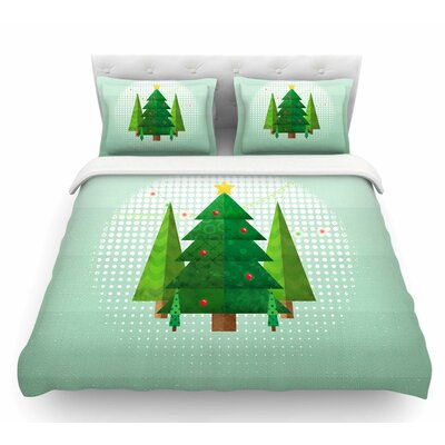 Geometric Christmas Tree by Noonday Design Featherweight Duvet Cover Size: Twin