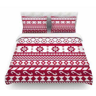 Fairisle Christmas Pattern by Noonday Design Featherweight Duvet Cover Size: Queen