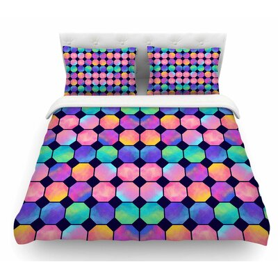 Colorful Watercolor Octagons by Noonday Design Abstract Featherweight Duvet Cover Size: Queen