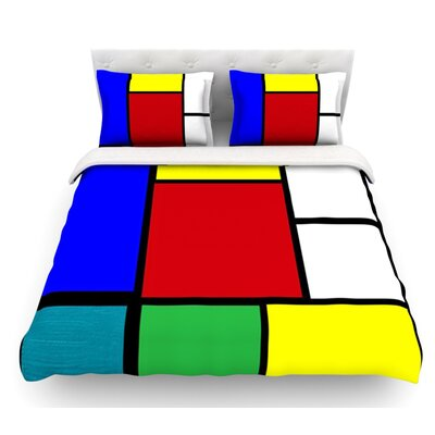 Mondrian and Me by Oriana Cordero Squares Featherweight Duvet Cover Size: King