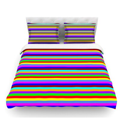 Bombon by Trebam Rainbow Stripes Featherweight Duvet Cover Size: Queen