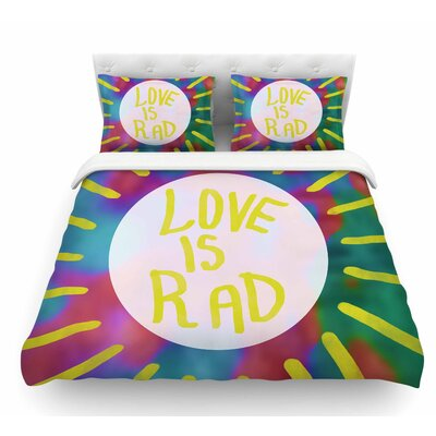 Love is Rad by Vasare Nar Tyopgraphy Featherweight Duvet Cover Size: Twin