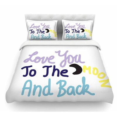 Love You to the Moon and Back by Vasare Nar Pastel Vector Featherweight Duvet Cover Size: Queen