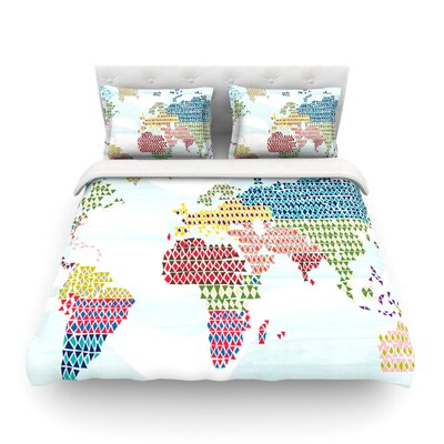 Geo Map Abstract by Agnes Schugard Featherweight Duvet Cover Size: Queen