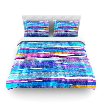 Fancy Stripes Light by Frederic Levy-Hadida Featherweight Duvet Cover Size: Full/Queen, Color: Dark Blue