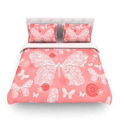 Butterfly Dreams by Monika Strigel Featherweight Duvet Cover Color: Pink/White, Size: Queen