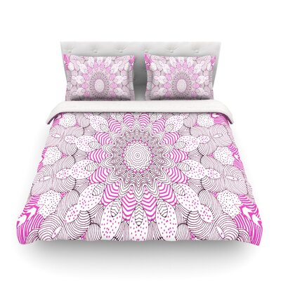 Dots and Stripes by Monika Strigel Featherweight Duvet Cover Size: Twin, Color: Pink, Fabric: Lightweight Polyester