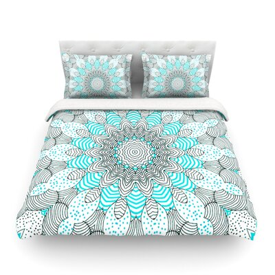Dots and Stripes by Monika Strigel Featherweight Duvet Cover Size: King, Color: Blue, Fabric: Woven Polyester