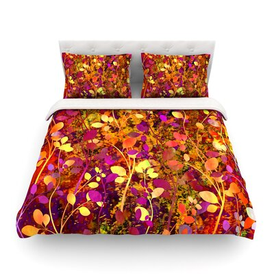 Amongst the Flowers by Ebi Emporium Featherweight Duvet Cover Color: Pink/Orange, Size: Twin