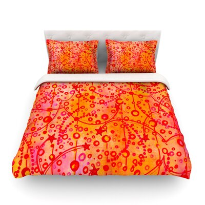 Make a Wish by Ebi Emporium Featherweight Duvet Cover Color: Orange/Red, Size: Queen