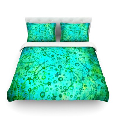 Make a Wish by Ebi Emporium Featherweight Duvet Cover Color: Teal/Green, Size: Queen