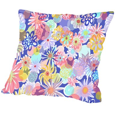 Floral Blues 1 Outdoor Throw Pillow Size: 16 H x 16 W x 2 D