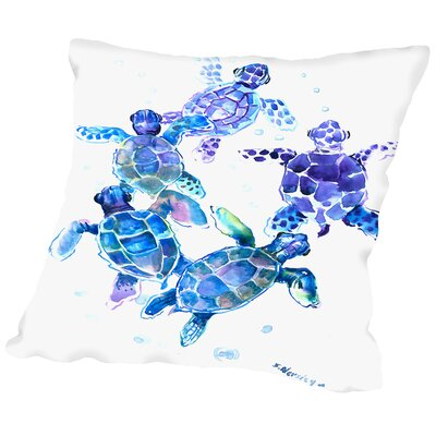 Sea Turtles Blue Outdoor Throw Pillow Size: 20 H x 20 W x 2 D