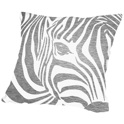 Zebra Outdoor Throw Pillow Size: 16 H x 16 W x 2 D, Color: Gray