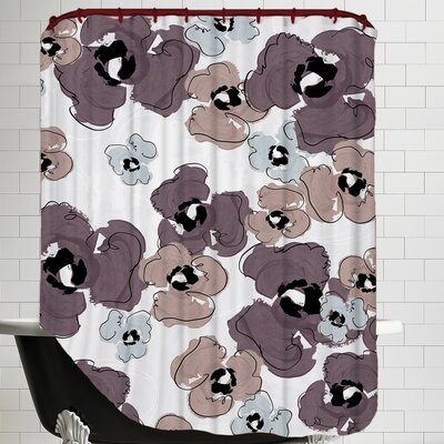 Poppy Petals Tossed Wine Shower Curtain