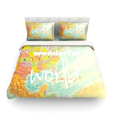 What a Wonderful World by Libertad Leal Map Featherweight Duvet Cover Size: King, Fabric: Lightweight Polyester