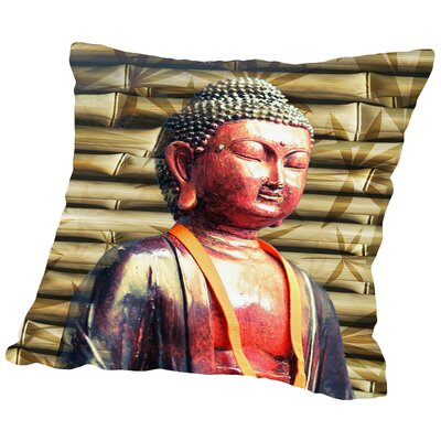 Buddha Bamboo Background Throw Pillow Size: 18 H x 18 W x 2 D