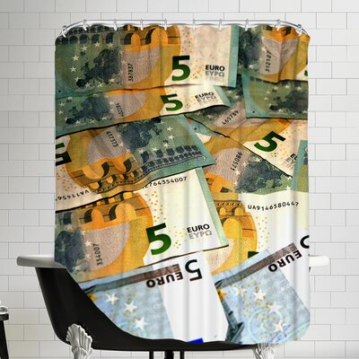 European Money Polyester Euro Shower Curtain