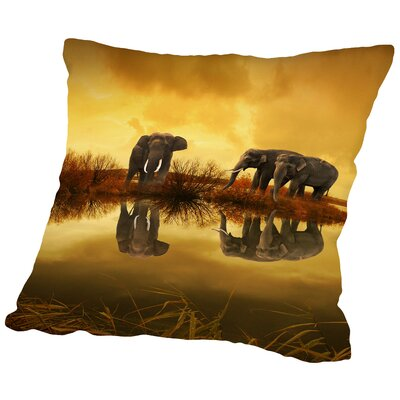Elephant Nature Summer Throw Pillow Size: 20 H x 20 W x 2 D