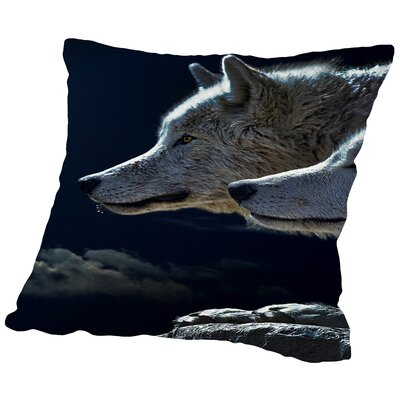 Fantasy Animal Wolf Wolves Throw Pillow Size: 16 H x 16 W x 2 D