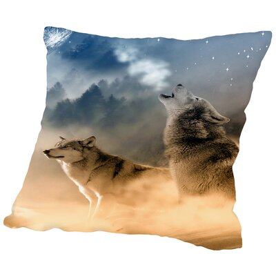 Wolf Wolves Animal Throw Pillow Size: 16 H x 16 W x 2 D