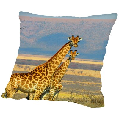 African Giraffe Throw Pillow Size: 18 H x 18 W x 2 D