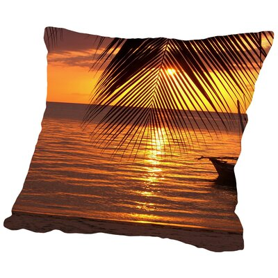 Sunset Palm Ocean Throw Pillow Size: 18